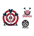Darts emblems with dartboards and arrows vector image