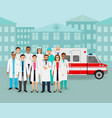 group of doctors and nurses and ambulance car on vector image