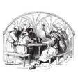 monks at a table vintage vector image