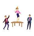 people dancing and drinking at corporate party vector image