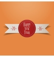Realistic white Ribbon with red New Year Label vector image