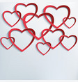Background with cutting paper 3d hearts vector image vector image