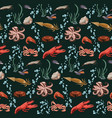sketch colorful marine animals seamless pattern vector image