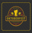 oktoberfest greeting card or flyer on textured vector image vector image