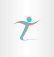 letter t man running sportsman icon vector image vector image