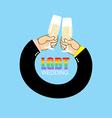 LGBT wedding Gay wedding Mens hands to drink vector image