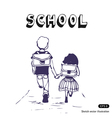 Boy and girl go to school vector image