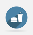 burger and paper cup Circle blue icon with shadow vector image