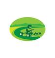 Go Kart Racing Oval Retro vector image