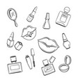 hand drawn cosmetics sketch icons vector image