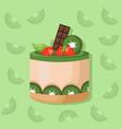 kiwi mousse delicious cake sweet dessert cherry vector image