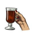Female hand holding a glass of cocktail wine vector image vector image