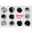 Grunge circle element set Stamp stain texture vector image