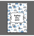 Happy new year card template with cute cartoon vector image