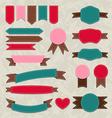 Set retro ribbons vintage labels emblems vector image