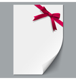 Sheet paper and red ribbon with gift bow vector image