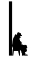 Silhouette of old man vector image