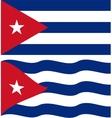Flat and waving Cuban Flag vector image vector image