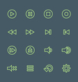 green outline various media player icons set vector image