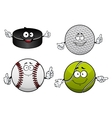 Ice hockey golf tennis and baseball items vector image