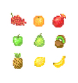 8 Bit Pixel Fruits vector image
