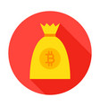 bitcoin money bag circle icon vector image
