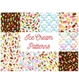 Ice cream seamless patterns vector image