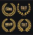 gold laurel  set shine wreath award design vector image