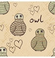 Doodle owls seamless pattern vector image vector image