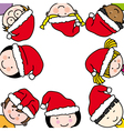 children card with santa claus hat vector image