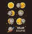 cute moon practice of yoga solar eclipse in vector image