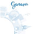 Outline Geneva skyline with blue landmarks vector image