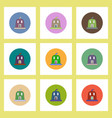 Flat icons halloween set of pumpkin with candel vector image