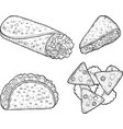 mexican food set - coloring page for adults vector image