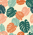 seamless pattern tropical monstera leaves vector image