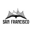 skyline of San Francisco and seagull design vector image