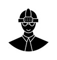 worker with helmet icon sig vector image