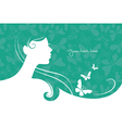 Background with beautiful girl silhouette vector image vector image