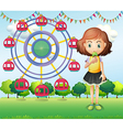A girl at the carnival vector image