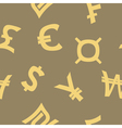 seamless background with currency symbols vector image
