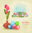vintage greeting card with vase of tulips and vector image vector image