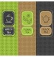 Set linear tea package brochures vector image