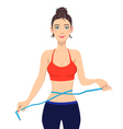 Young slim woman measuring waist with tape vector image