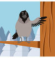 Happy Crow on the winter flat backgrownd vector image