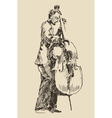 JAZZ concept man playing the double bass music vector image