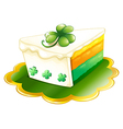 A slice of cake for St Patricks Day vector image