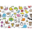 seamless doodle animal pattern vector image vector image