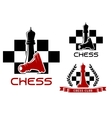 Chess club icons with queen and pawn vector image