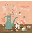 Still-life with a bouquet of flowers birds cups vector image