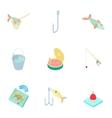 Fishing icons set cartoon style vector image